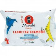 Купить Maneki Kaiteki влажные салфетки для всей семьи с витамином Е и увлажняющим лосьоном 25шт