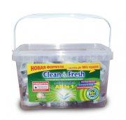 Купить Clean&Fresh All in 1 таблетки для всех типов посудомоечных машин 60шт в банке