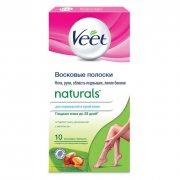Купить Veet восковые полоски для депиляции женские 10шт Naturals с маслом ши