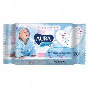 Купить Aura влажные салфетки детские 120шт Ultra Comfort с экстрактом алоэ и витамином Е с крышкой