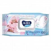 Купить Aura влажные салфетки детские 100шт Ultra Comfort с экстрактом алоэ и витамином Е