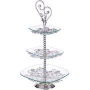 Купить Loraine LR-27974 Конфетница 3-х ярусная на ножке, стекло на стальной стойке с серебрянным покрытием