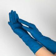 Купить Derma Sensitive перчатки латексные, одноразовые, нестерильные, неопудренные, 1 пара, синие, размер S