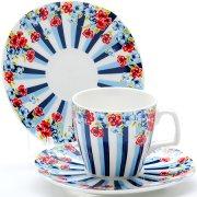 Купить Loraine LR-24754 Кофейный набор 12 предметов цветы в полоску костяной фарфор