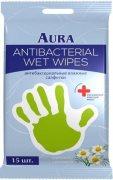 Купить Aura влажные салфетки Антибактериальные Ромашка стикер рука 15шт