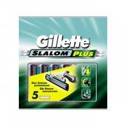 Купить Gillette кассеты для бритья сменные мужские Slalom 5шт зеленые со смаз. полоской