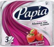 Купить Papia туалетная бумага трехслойная 4шт Клубничная мечта