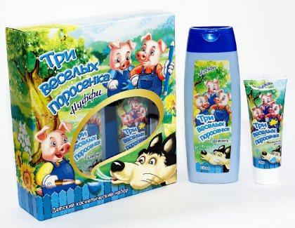 Три веселых поросенка - Нуффи подарочный набор детский (шампунь+мыльная краска для купания)